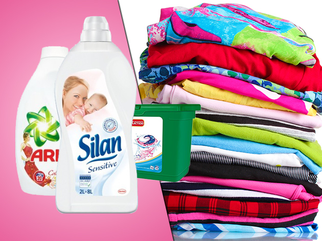 Ariel mosószer színes vagy fehér ruhához (mosópor/gél/kapszula) és Silan öblítő
