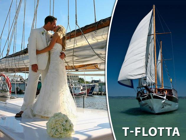 Esküvő a Balatonon, egy yacht fedélzetén! Lakodalom egy siófoki wellness hotelben szállással és ellátással / fő