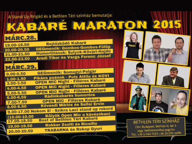 Kabaré Maraton a Bethlen Téri Színházban - 24 órás bérlet vagy külön belépő az egyes előadásokra / március 28-29.