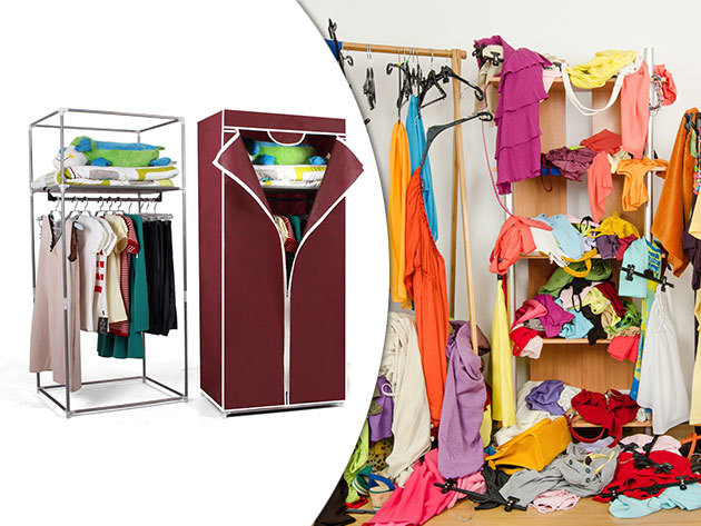 Mobil ruhásszekrény - 60 x 43 x 145 cm, könnyen összeszerelhető fém vázzal