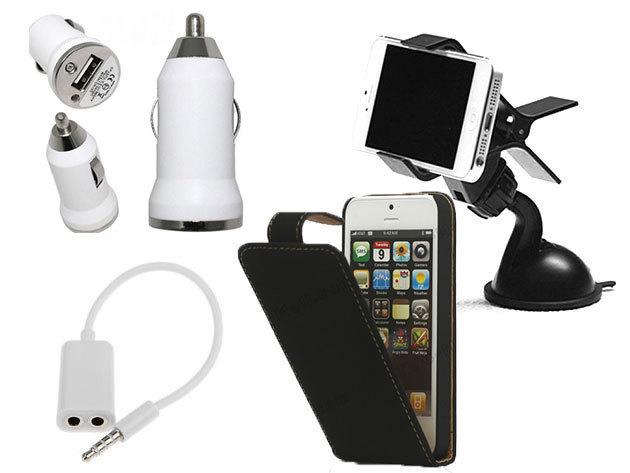 iPhone 5/5s autós csomag: Autós tartó, Szivargyújtós USB töltő, Audio Splitter és iPhone 5/5s flip tok