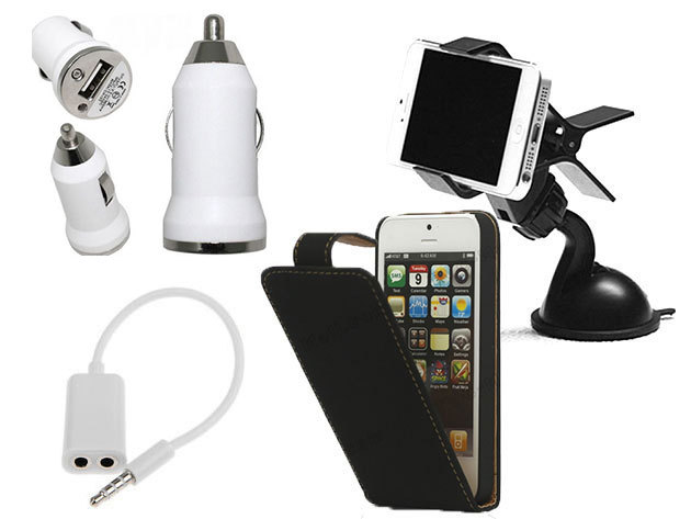 iPhone 5/5s autós csomag: telefontartó + szivargyújtós töltő + Audio Splitter + flip tok