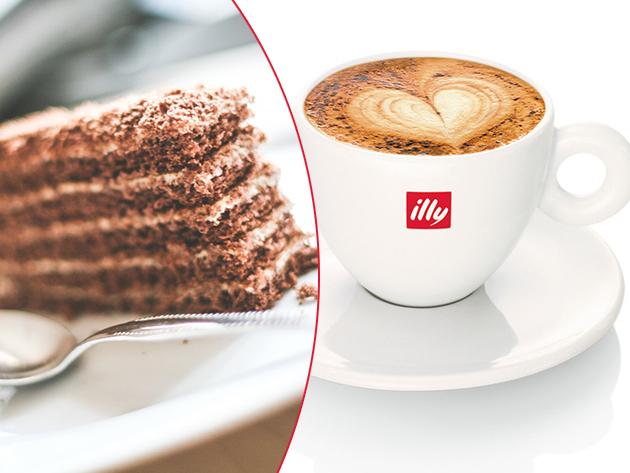 Páros nassolás: 2 csésze választható ILLY kávékülönlegesség + 2 szelet Marlenka