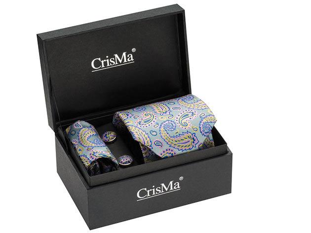 CrisMa® elegáns szett (nyakkendő, mandzsettagomb, díszzsebkendő) - Paisley