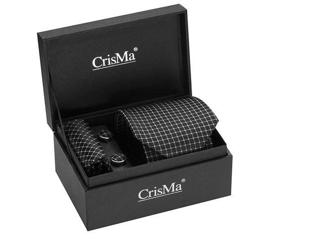 CrisMa® elegáns szett (nyakkendő, mandzsettagomb, díszzsebkendő) - Fekete