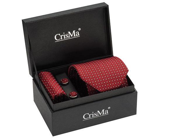 CrisMa® elegáns szett (nyakkendő, mandzsettagomb, díszzsebkendő) - Piros