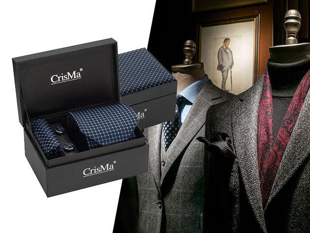Elegáns CrisMa® szett - nyakkendővel, színével harmonizáló mandzsettagombbal és selyemből készült díszzsebkendővel