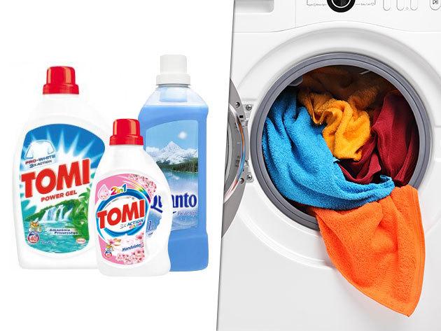 TOMI folyékony mosószerek színes vagy fehér ruhákhoz és QUANTO öblítő