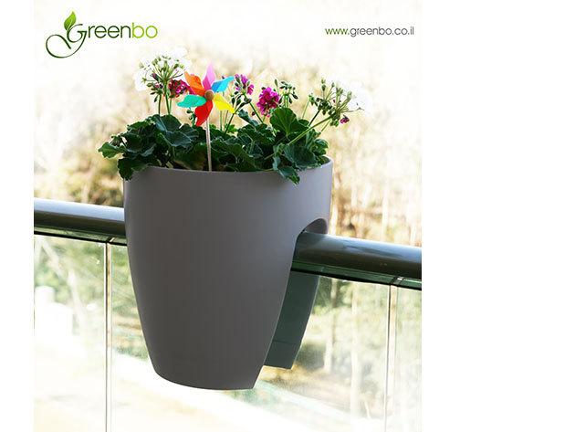 Greenbo korlátra rakható kaspó - SZÜRKE