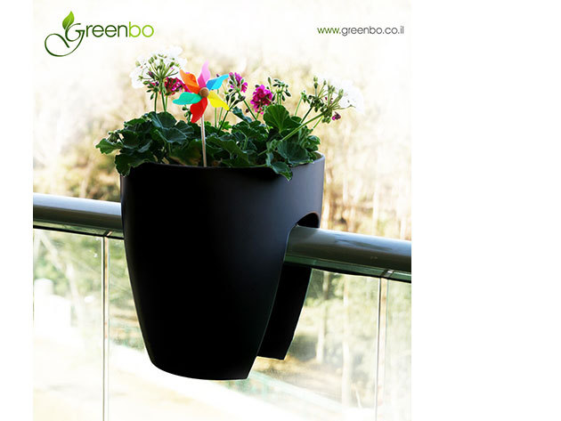 Greenbo korlátra rakható kaspó - FEKETE