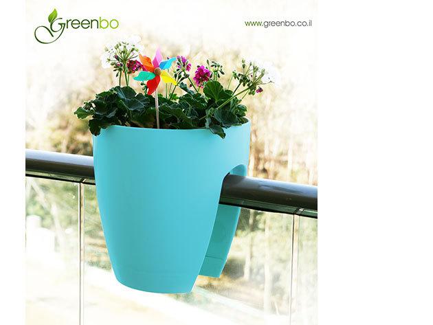 Greenbo korlátra rakható kaspó - KÉK