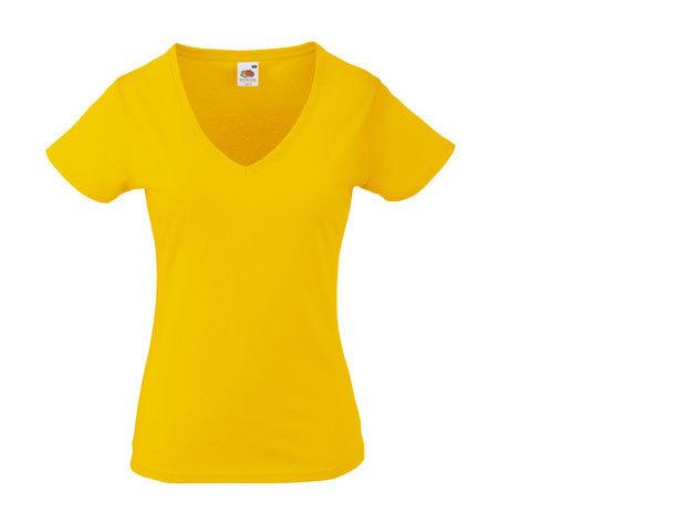 FOL V-nyakú karcsúsított női póló - SÁRGA