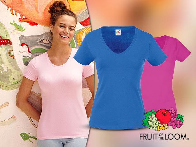 Fruit of the Loom V-nyakú női póló - 100% pamut anyagból, 9 divatos színben