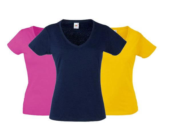 3 db Fruit of the Loom V nyakú karcsósított női póló - tetszőlegesen választható szín és méret