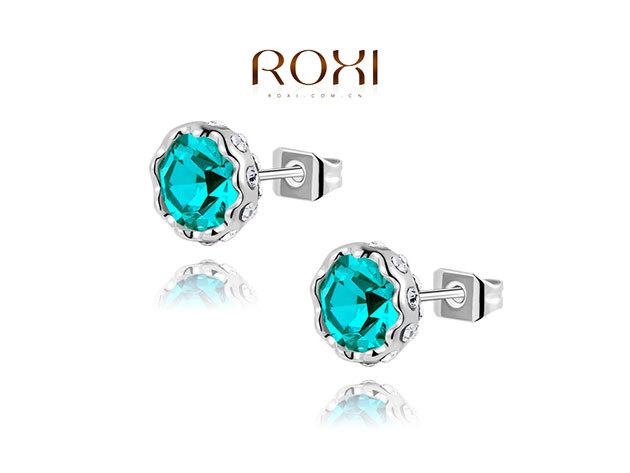 ROXI Színpompás fülbevaló 18 karátos arany bevonattal - zöld