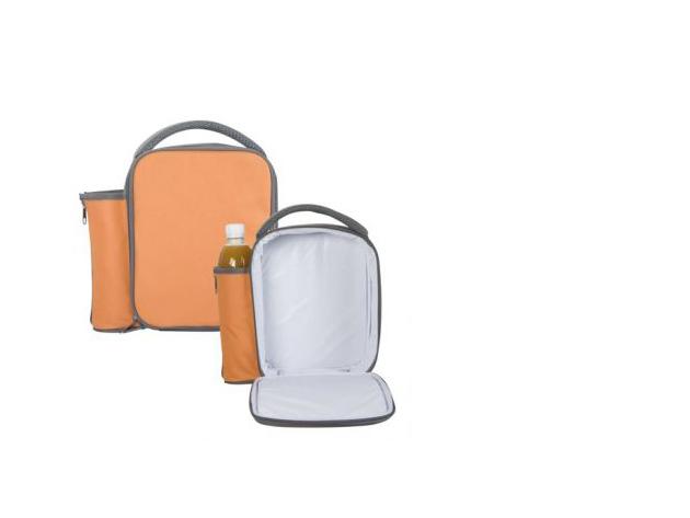 Hőtartó uzsonnás táska, palacktartóval az oldalán - 19×23,5×8,5 cm