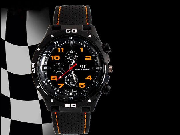 GT Sportos férfi karóra - narancsárga dizájn