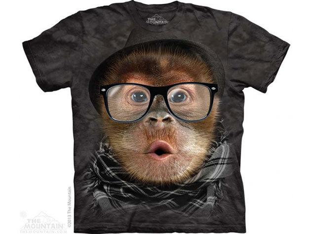 The Mountain, Hipster Orangutan Baby felnőtt rövid ujjú 3D amerikai póló (10_3774)
