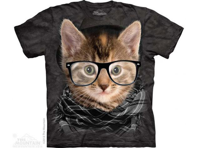 The Mountain, Hipster Kitten felnőtt rövid ujjú 3D amerikai póló (10_3765)