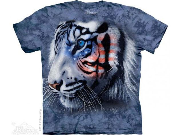 KIÁRUSÍTÁS!!! The Mountain, Stars and Stripes Tiger felnőtt rövid ujjú 3D amerikai póló - M-es méret (10_3712m)