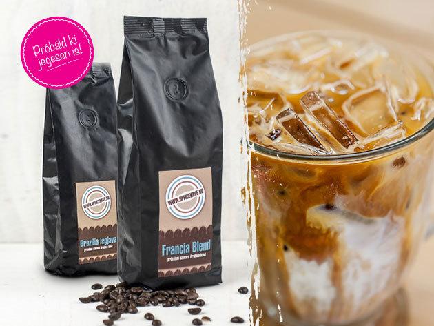 Ha forró a nyár, akkor jegeskávé! 100% Arabica, prémium szemes kávé, 3 féle ízben: Brazil, Afrikai és Francia Blend (250g)