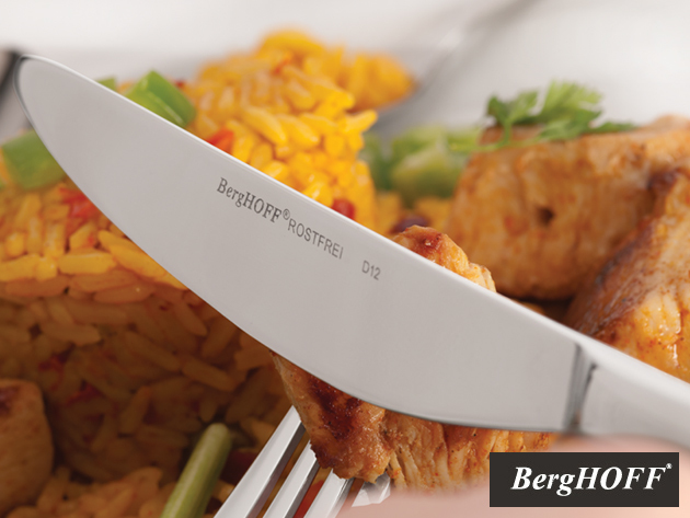 BergHOFF Studio 24 részes rozsdamentes acél (10/18) evőeszközkészlet: kanál, villa, kés, kiskanál