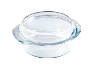 Hőálló üveg tál fedővel, kerek, 3 l / BL-2027
