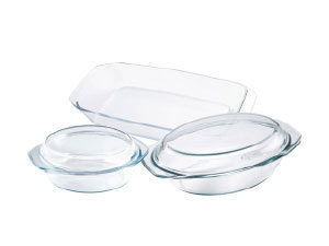 Hőálló üvegtál készlet, 5 részes (1,5l kerek + fedő; 2,5l ovális + fedő; 2,4l tepsi) / BL-2018