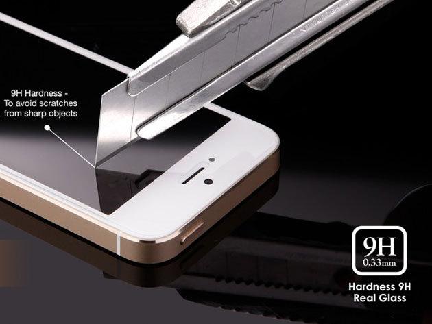 'Robbanásbiztos' kijelzővédő üvegfólia iPhone 4/4S/5/5S/5c/6 készülékekhez