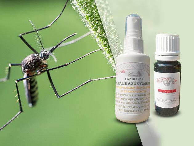 Szúnyogriasztó spray illóolajokkal (120 ml) és Geránium Kullancsriasztó (10ml) bőrbarát, természetes alapanyagokból