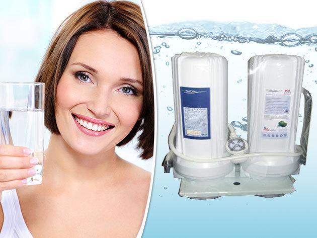 Csapra szerelhető házi víztisztító készülék, 2 fokozatú szűrőrendszerrel