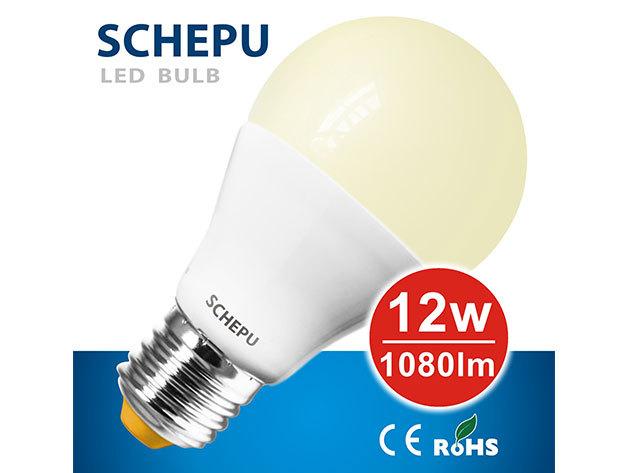 Schepu 12W A65 LED izzó E27-es foglalattal (fényáram:1080lm) - SCA65W12E2701527K
