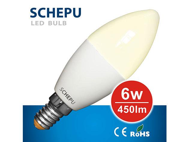 Schepu 6W LED gyertya izzó E14-es foglalattal (fényáram:450lm) - SCCAW6E1401527K