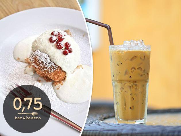 Hűsítő finomságok: jegeskávé + választható desszert, a Bazilikánál / 0,75 bistro & bar