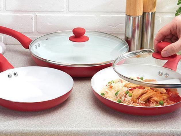 Ceramic Pan - kerámia betétes serpenyő készlet (3 serpenyő+2 fedő) az ízletes, egészséges ételekért