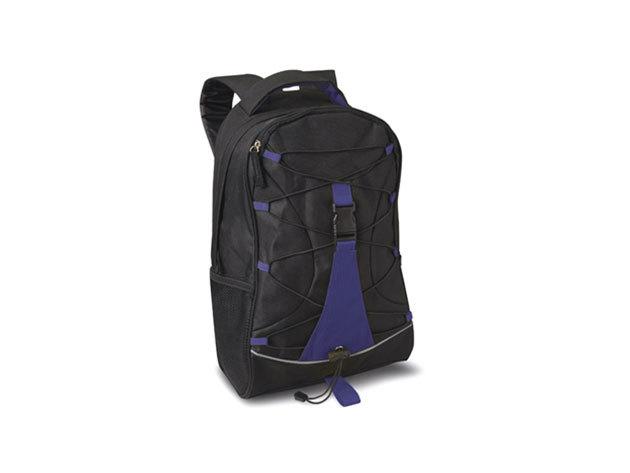 MONTE LEMA fekete hátizsák kék betéttel és zsinórral az elején, hálós zsebekkel az oldalán (29x16x46 cm) / mo7558-04