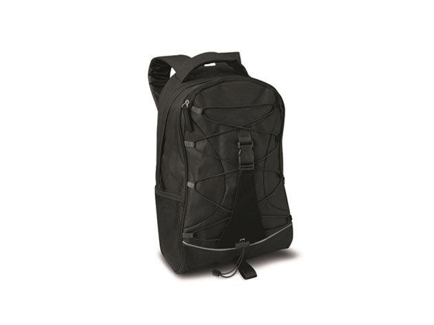 MONTE LEMA fekete hátizsák fekete betéttel és zsinórral az elején, hálós zsebekkel az oldalán (29x16x46 cm) / mo7558-03