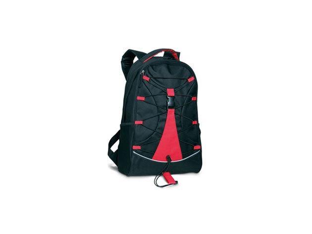 MONTE LEMA fekete hátizsák piros betéttel és zsinórral az elején, hálós zsebekkel az oldalán (29x16x46 cm) / mo7558-05