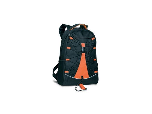 MONTE LEMA fekete hátizsák narancssárga betéttel és zsinórral az elején, hálós zsebekkel az oldalán (29x16x46 cm) - mo7558-10