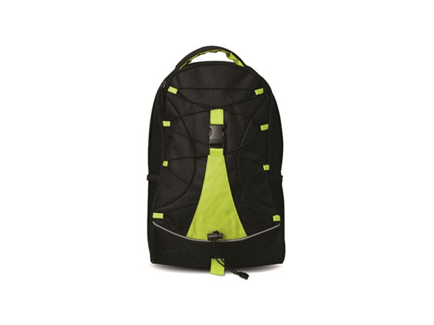 MONTE LEMA fekete hátizsák lime betéttel és zsinórral az elején, hálós zsebekkel az oldalán (29x16x46 cm) / mo7558-48