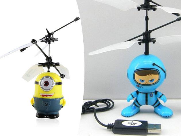 Minion-os és űrhajós helikopterek USB töltővel - távirányítóval röptethető játékok