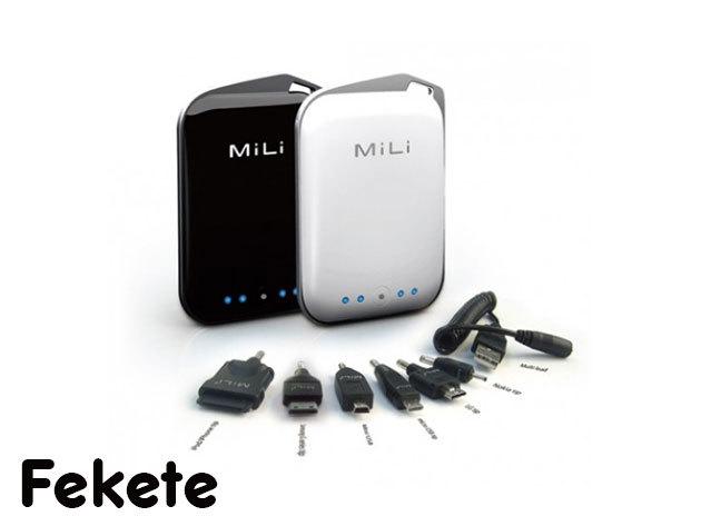 MiLi Power Crystal hordozható külső akkumulátor (2000mAh) Fekete, 6 féle csatlakozóval