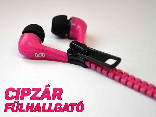 Cipzáros dizájn fülhallgató vidám színekben - 130 cm hosszú, mégis gabalyodás nélkül tárolhatod