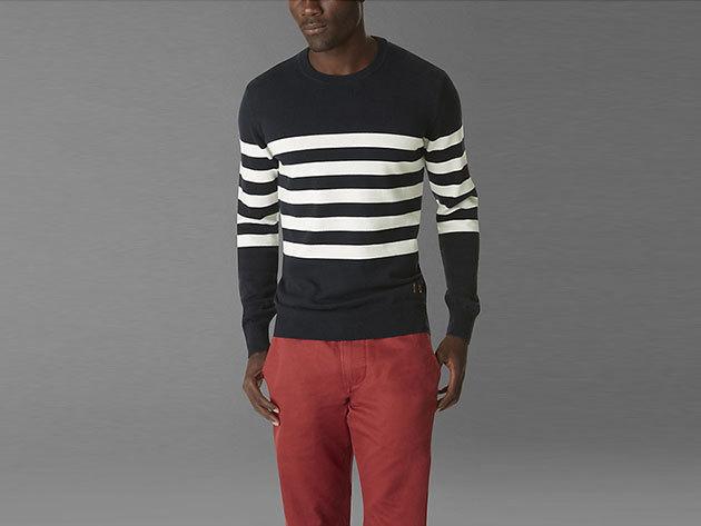 Dockers férfi pulóver sötétkék/beige csíkos (dockers_804910001) (L)