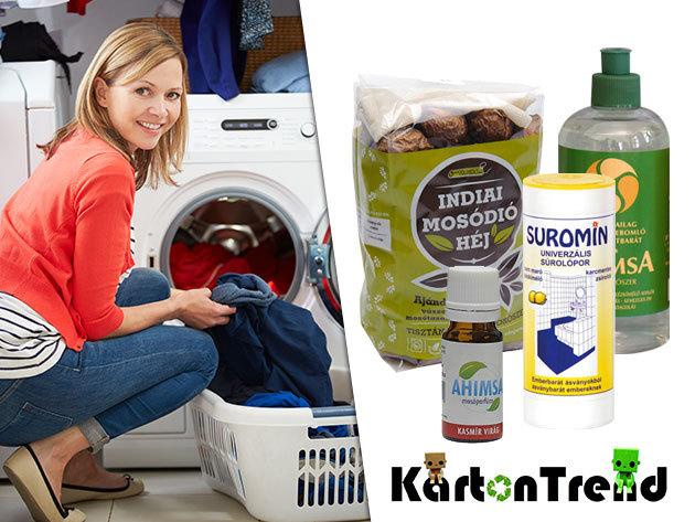 Környezetbarát tisztítószer csomagok - mosódió vászontasakkal, mosóparfüm, mosogatószer és univerzális súrolópor
