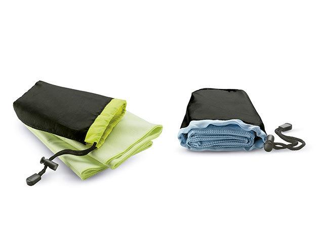 Duo Pack - Sporttörölköző praktikus tárolóban - extra nedvszívó, gyorsan száradó, helytakarékos / választható szín