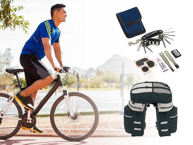 Kerékpáros kiegészítők az őszi biciklitúrákhoz - táska esővédővel, szerszámkészlet, pumpa, esőkabát