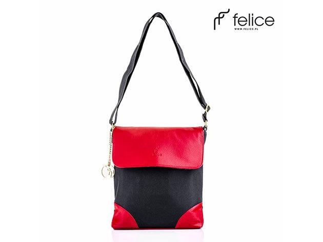 Felice női műbőr-vászon táska / piros-fekete