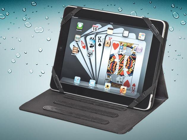 Tablet tok / 3 dőlésszögű állvány - minőségi kidolgozás, bőr alapanyag, 25x19,5x2 cm