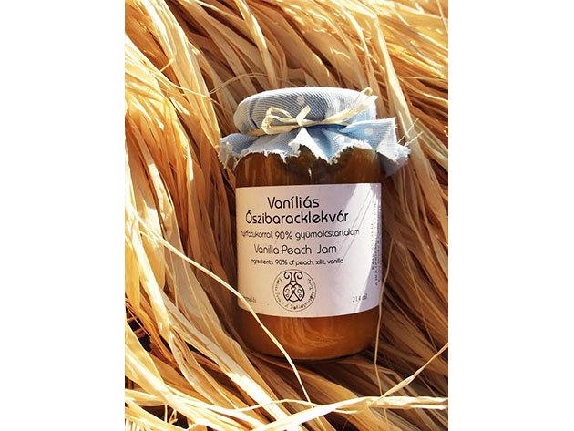 Vaníliás őszibaracklekvár nyírfacukorral, tartósítószer mentesen (214 ml)